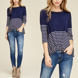 DELILAH Stripe 3/4 Sleeve Top - Navy